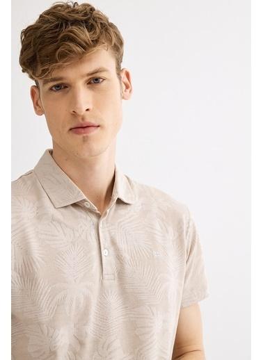 Avva Erkek  Polo Yaka Jakarlı  Tişört A01Y1057 Bej